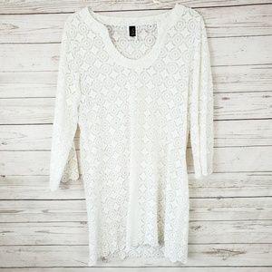 Laundry by Shelli Segal White Crochet Swim Coverup